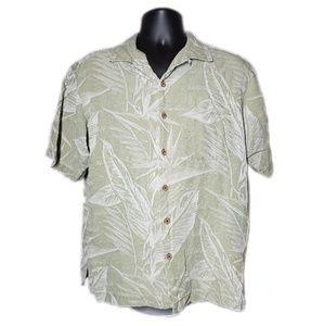 Caribbean Joe Silk Green Palm Hawaiian Button Down